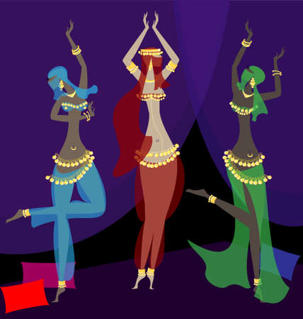 in a dark room dancing oriental three girls Vector