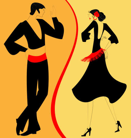 on abstract red-yellow background are couple of Spanish dancers