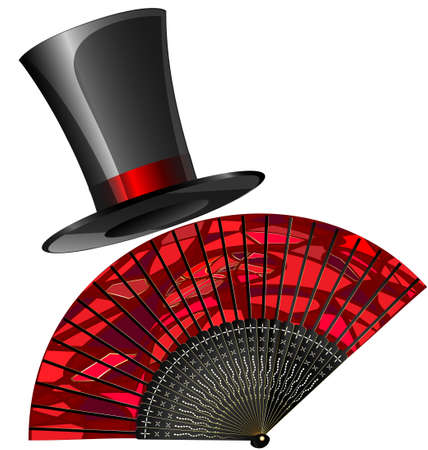 open fan: on a white background are red fan and old-fashioned top-hat Illustration