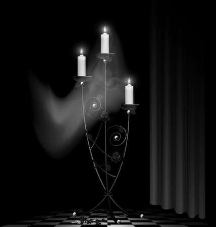black-white room, big black chandelier with three burning candles and ghost Stock Vector - 13729519