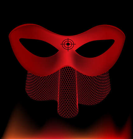 mummers: on an black background is a carnival red half mask decorated with red veil