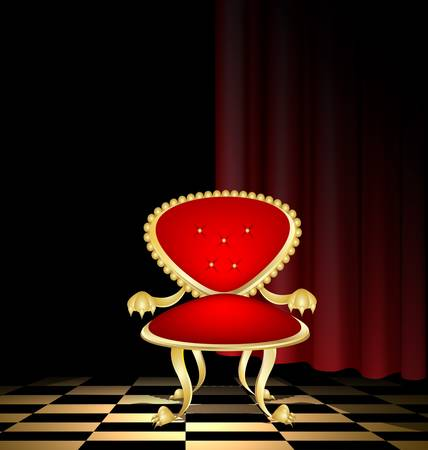 a ceremonial old red-golden armchair in a abstract dark room Stock Vector - 14219539