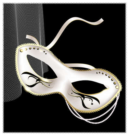 mummers: on an black background is a carnival white half mask decorated with beads and ribbon