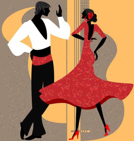 danseuse flamenco: sur le fond abstrait est couple de danseurs espagnols Illustration