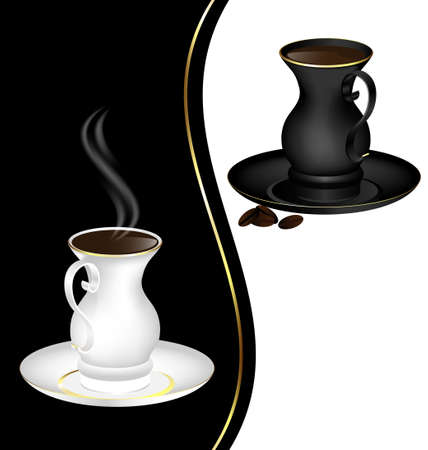 old times: black-white abstract background and black and white couple of old-fashioned cup