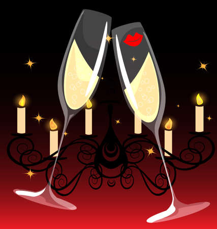 on a dark-red background is an abstract painting  two celebratory glasses of champagne