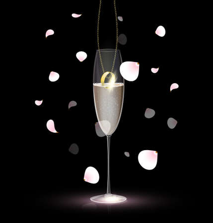 neckband: against a background of rose petals is a gold ring on a chain inside a glass of champagne Illustration
