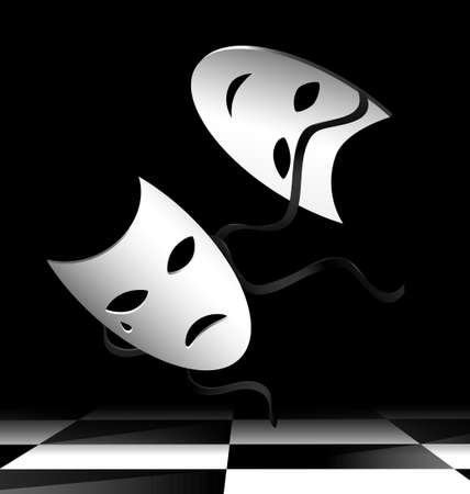 dramatics: in abstract dark room are two flying white theatrical masks