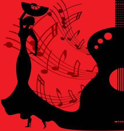 on red abstract musical background is silhouette of dancer flamenko