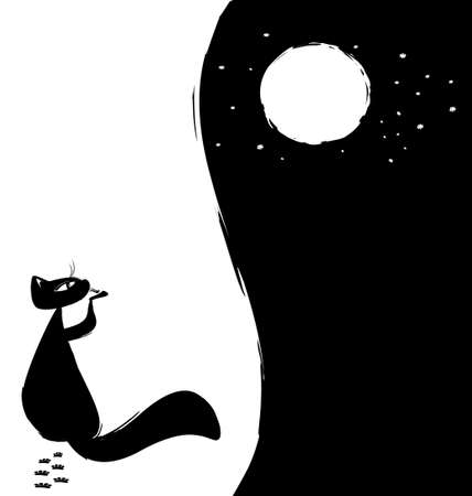 black-white abstract background  lonely cat, moon and stars Vector
