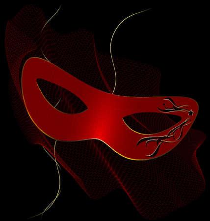attribute: op een zwarte achtergrond is een carnaval rode half masker versierd met sluier