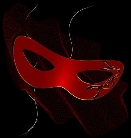 on an black background is a carnival red half mask decorated with veil