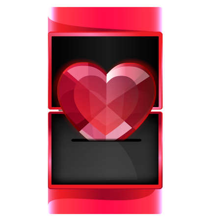 donative: in miniature red gift box is large jewelry heart
