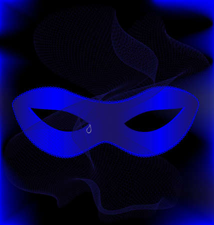 mummers: on an black background are a carnival blue half mask and blue veil