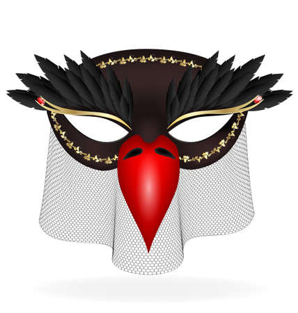 felicitate: on a white background are a black-red half mask of bird decorated with feathers and red beak