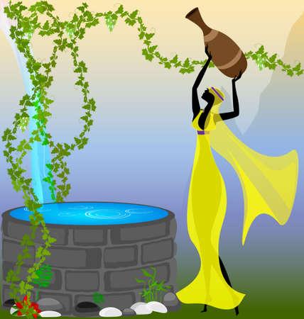 source d eau: fille abstraite avec une cruche d'eau pr�s de la source