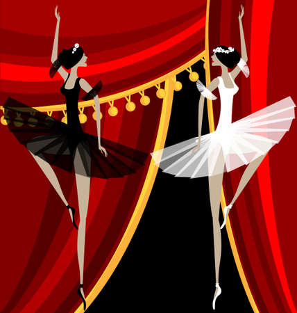 against red curtain dancing black and white ballet dancers Vector