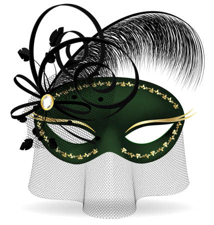 mummers: on a white background is a black-green half mask decorated with feather, bow and veil