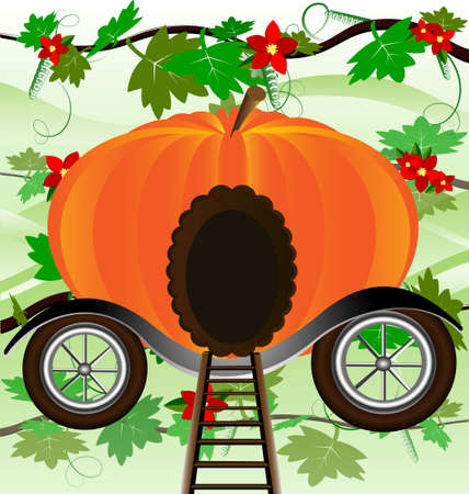conveyance: against the background of green leaves is pumpkin-carriage Illustration