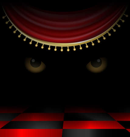 black floor: in a dark old-fashioned room in the darkness watching two mysterious yellow eyes