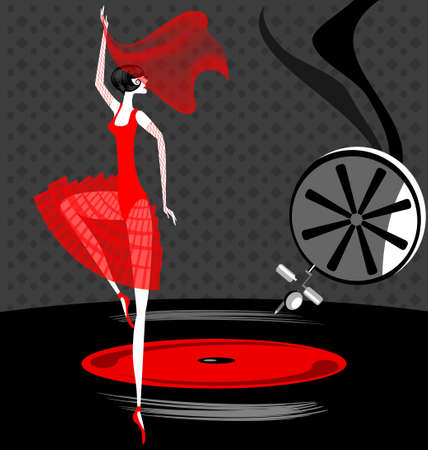 On an old phonograph record dancing the ballerina  in red