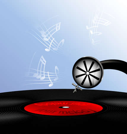 phonograph: On an abstract background is old phonograph record