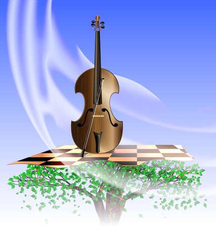 en el cielo en el árbol abstracto es instrumento de cuerda que toca la música de viento