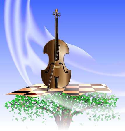 stringed: in the sky on the abstract tree is stringed instrument that plays the music of wind