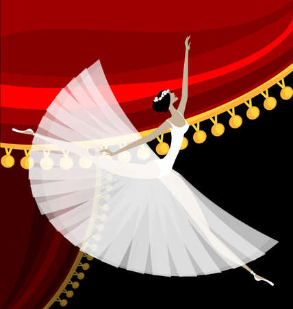 against red curtain dancing white ballet dancer Vector