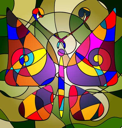 라인으로 구성된 MULTY 색 배경의 변화 추상적 인 이미지 나비