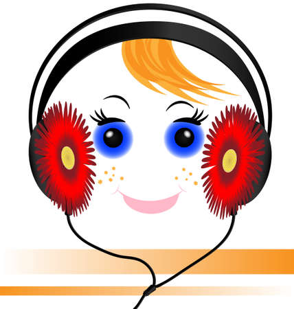 rounde: music headphones in the form of red flowers and smiling funny face red-haired boy