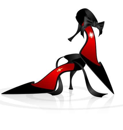 Women s shoes: trên một nền trắng là cặp đôi giày màu đen thanh lịch lady s Hình minh hoạ