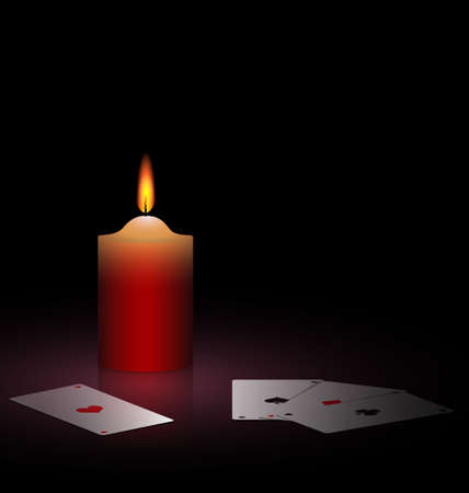 on a black background are burning candle and cards Vector