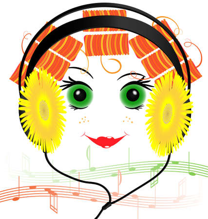 rounde: music headphones in the form of yellow flowers and smiling funny face red-haired girl