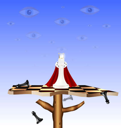 in the sky-eyes on the abstract chess board-tree are stylized chess figures Vector