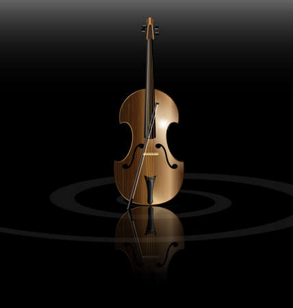 on black background is the abstract stringed instrument Vector