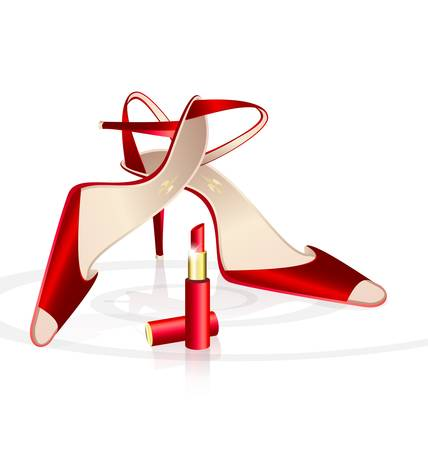 on a white background are couple of  elegant lady s shoes and red lipstick