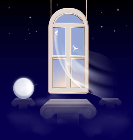 curtian: in the abstract night sky hung window in the morning sky