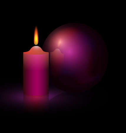 on a black background are burning candle and purple ball
