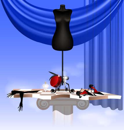 en el cielo en el tablero abstracto son el muñeco grande y negro, zapato negro, guante dama s, sombrero rojo, un vaso de vino y una botella de perfume