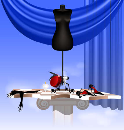 in the sky on the abstract board are the big black dummy, black shoe, lady s glove, red hat, glass of wine and bottle of perfume Vector