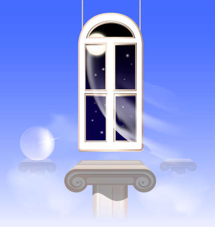 in the abstract morning sky hung window in the nightly sky Illustration