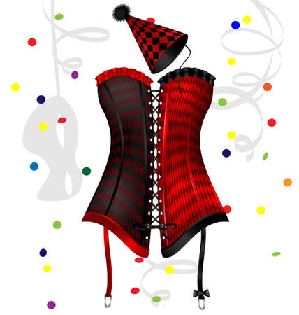 corsage: on a white background is a big red-black carnival corset