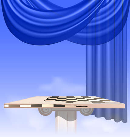 curtian: in the sky are abstract chess board and drape Illustration