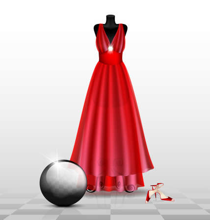 in abstract room are a big black dummy in a red dress and red shoes