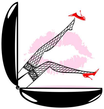 een grote poeder en abstracte vrouwelijke benen