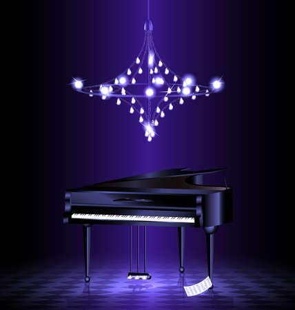 kammare: i ett mörkt rum med kristall lyster är svart flygel