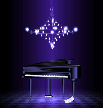 in dark room with crystal luster is black grand piano Stock Illustratie