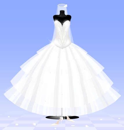 en la habitación azul abstracto son un muñeco grande y negro en un vestido de novia blanco y zapatos de la señora s