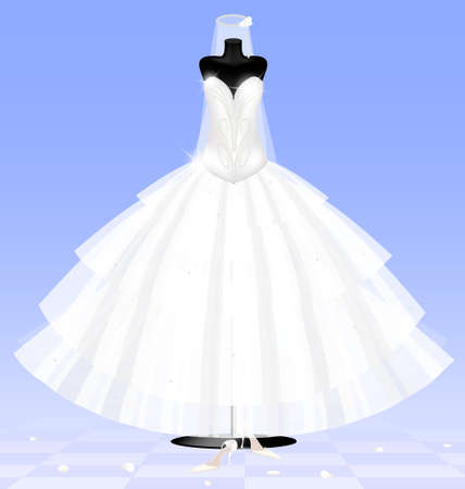 layman: in abstract blue room are a big black dummy in a bride dress and white lady s shoes